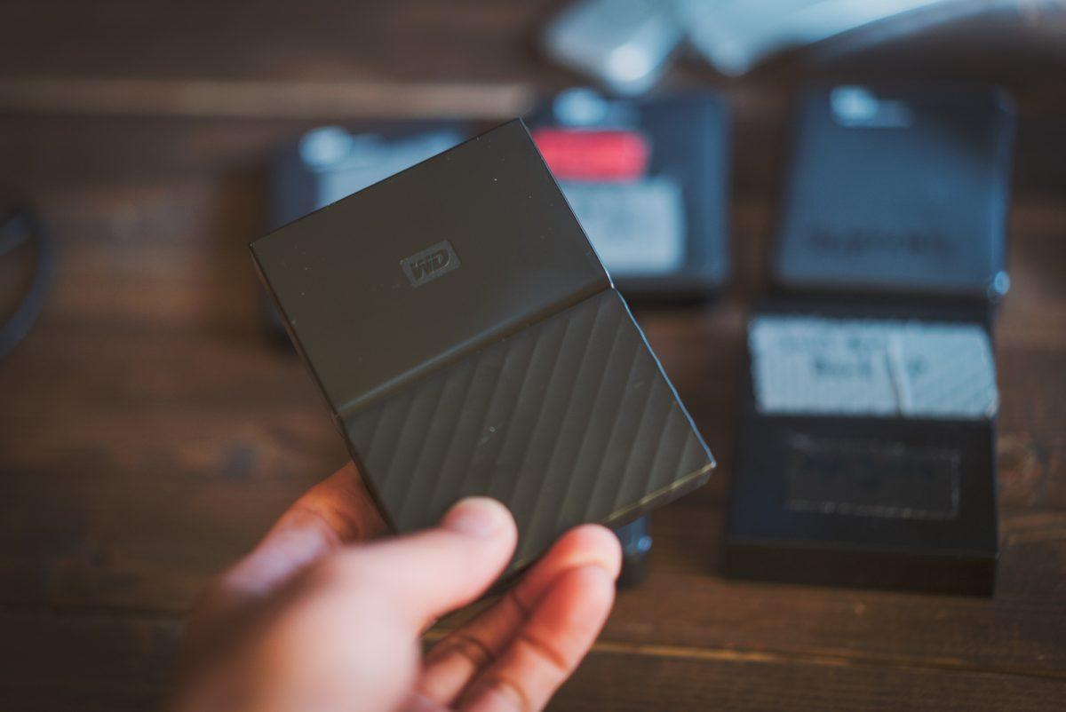 ハードディスクはいつもWDポータブルHD 4TBを使っています